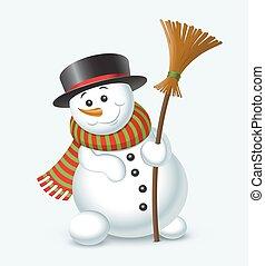 snögubbe, söt, isolerat, illustration, bakgrund., vektor, vit jul