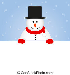 snögubbe, söt, snöig, blåttbakgrund, lycklig