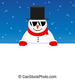 snögubbe, söt, solglasögon, snöig, blåttbakgrund, lycklig