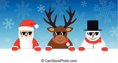 snögubbe, söt, solglasögon, vinter, snöig, claus, jultomten, ren, bakgrund, tecknad film