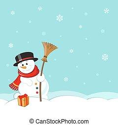 snögubbe, scarf, vinter, kort, affisch, kvast, hälsning, illustration, bakgrund., vektor, vykort, hatt, jul, landskap, design.