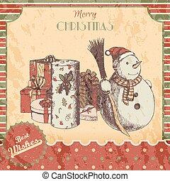 snögubbe, skiss, poster., klassisk, gåvor, år, style., vinter, kort, årgång, kvast, -, bakgrund., färsk, hatt, jul, grunge, illustration, hand, oavgjord, röd, färgad, vektor, grön, eller