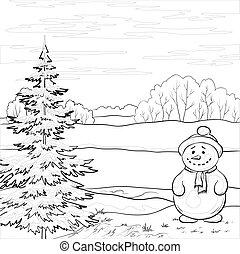 snögubbe, träd, jul, konturerna