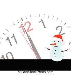 snögubbe, vektor, illustration, klocka