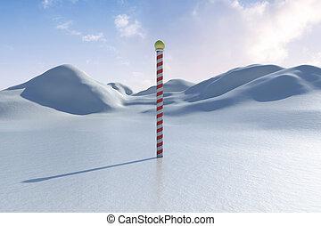 snöig, land, scape, med, pol