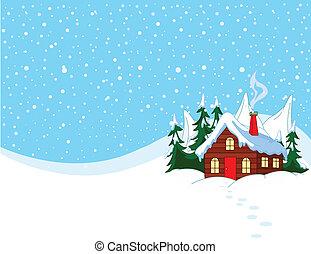 snöig, litet, kullar, hus