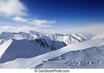 snöig, mountains, och blåa, sky