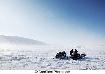 snöskoter, vinter landskap