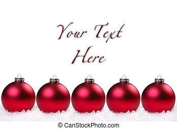 sněžit, vánoce, baňka, červeň, lesklý