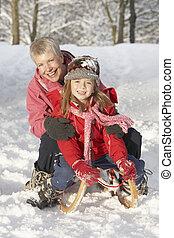 sněžný, sáně, mládě, babička, jízdní, děvče, krajina