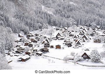 sněžný, vesnice, day., dějinný, shirakawa-go, japonsko
