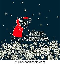 sněhové vločky, vektor, vánoce, claus, santa, ilustrace