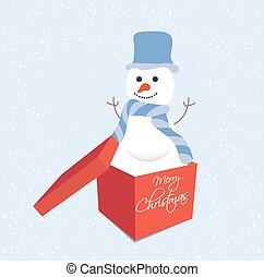 sněhulák, do, dar balit, vánoce
