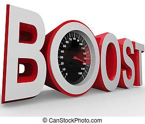 snabbare, ökning, mått, förbättring, hastighetsmätare, ...