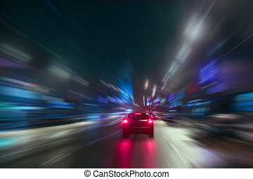 snabbt, rörelse, om natten