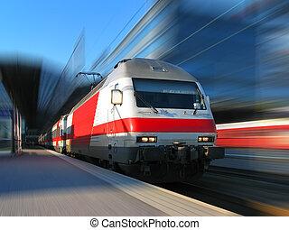 snabbt, rörelse, tåg