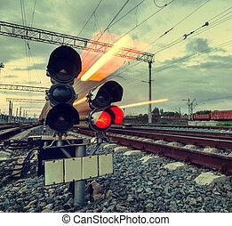snabbt, rörelse, Tåg, fläck