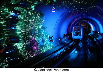 snabbt, rörelse, Tåg, tunnelbana, fläck