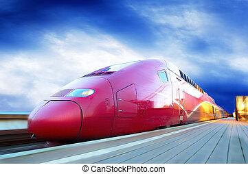 snabbt, rörelse, tåg, utomhus, fläck