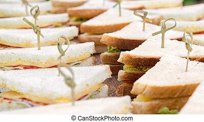 snack., サンドイッチ, 食事。, ビジネス, 料理の, トレー, 季節的, toasties., menu., 料理, 背景, 昼食, 食物, 食通, ケータリング, おいしい, ケータリング, buffet.