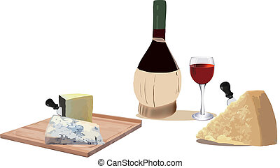 snack - cheese and red wine