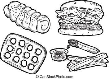 snack doodle isolated on white background