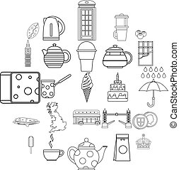 Snack for tea icons set, outline style