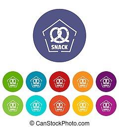 snack, iconen, set, kleur
