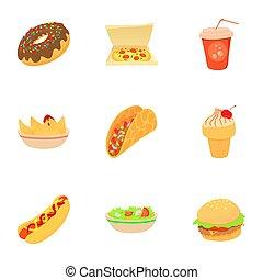 snack, iconen, set, spotprent, stijl