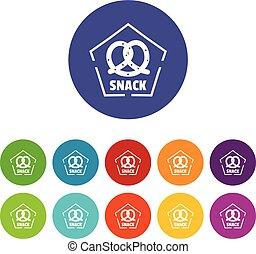 snack, iconen, set, vector, kleur