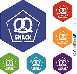 snack, iconen, vector, hexahedron