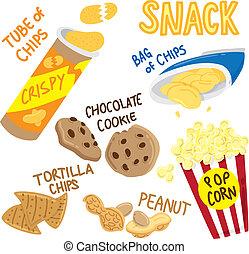 snack, ikona, klikyháky