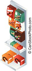 Snack market shelf icon, isometric style