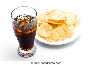 Snack - Potato chips with soda on white background
