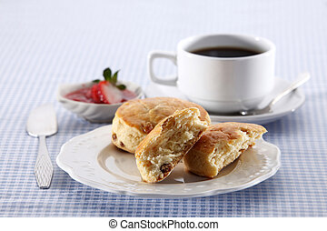 Snack. - Scones with some black coffee.