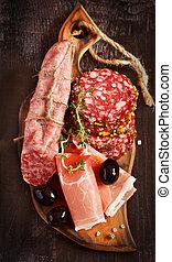 snack., vlees