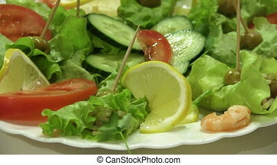 Snack With Cucumber, Lemon And Shrimps - fresh salad with...