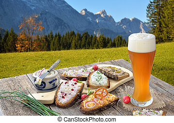 Snack with spreads in the Bavarian Alps