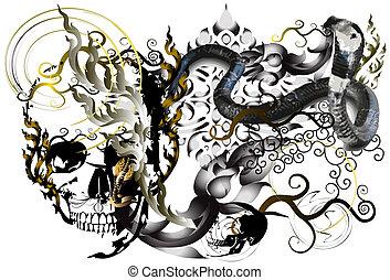 snackes and skull