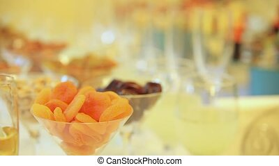 Snacks and drinks for the party. Dynamic change of focus. Close up