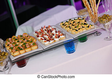 Snacks and tasty morsels in a buffet