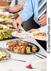 Snacks buffet at business company meeting