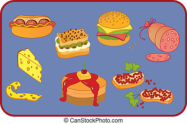 Snacks - Icon set of ten snack items on blue background