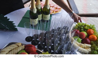 Snacks for wine on the buffet table.