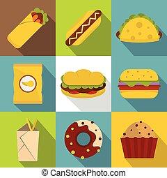 Snacks icon set, flat style