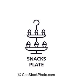 snacks plate line icon, outline sign, linear symbol, vector, flat illustration