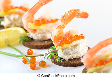 Snacks with prawns