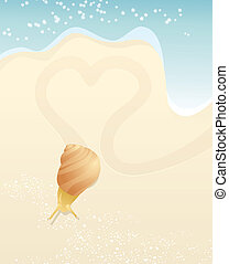 Snail and heart on the beach