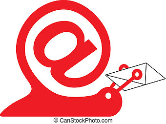 snail as internet sign and email icon