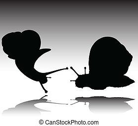 snail black vector silhouettes